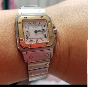💜CARTIER WATCH W/SAPHIRE GOLD/STAINLESS